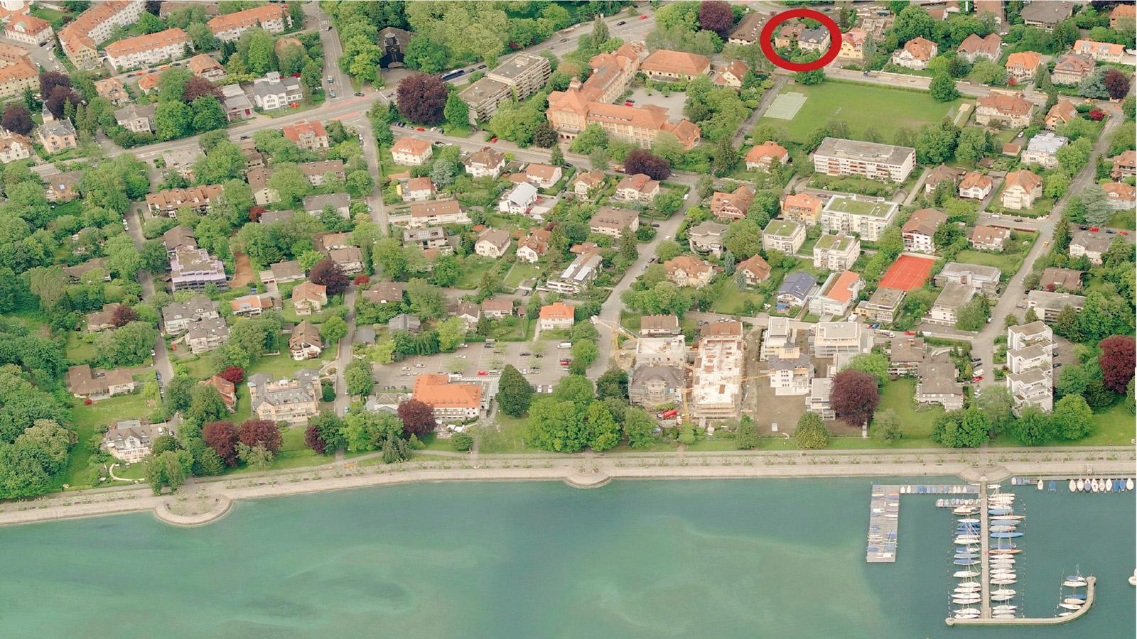 Ferienwohnung Roos Konstanz Luftaufnahme Bodensee
