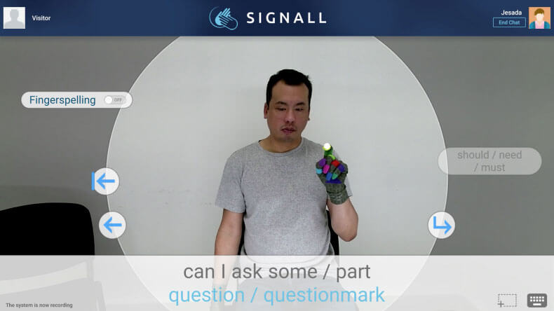Screenshot of a Deaf person using SignAll Chat
