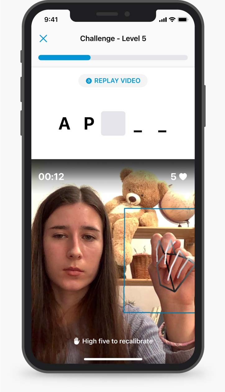 """A mobile phone screen with an example of a unit: a student fingerspelled the letters """"A"""" and """"P"""", and the three following characters are missing"""