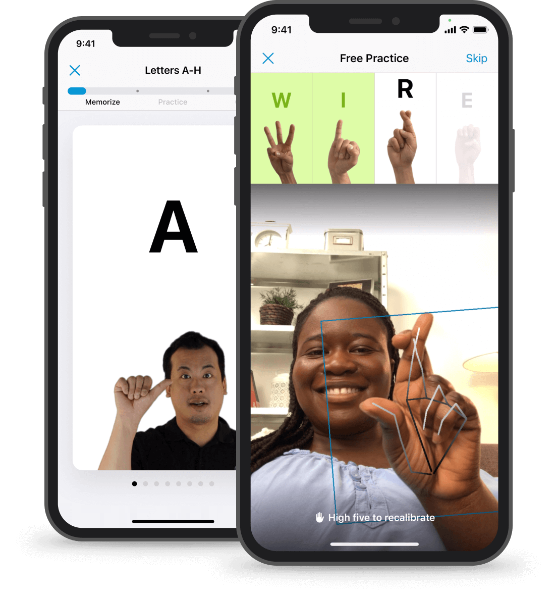 """Two phone screens: the one in the front shows a smiling girl; the one in the back shows an ASL instructor showing the letter """"A"""""""