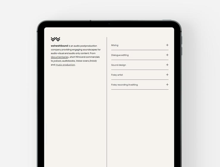 Web design and development for wshwshsound