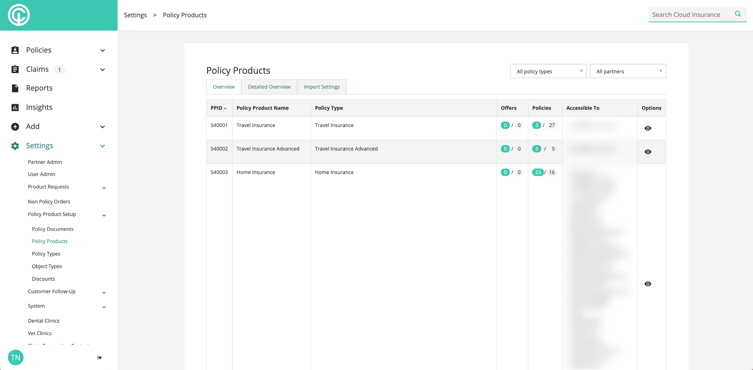 A screenshot of the Cloud Insurance system interface.