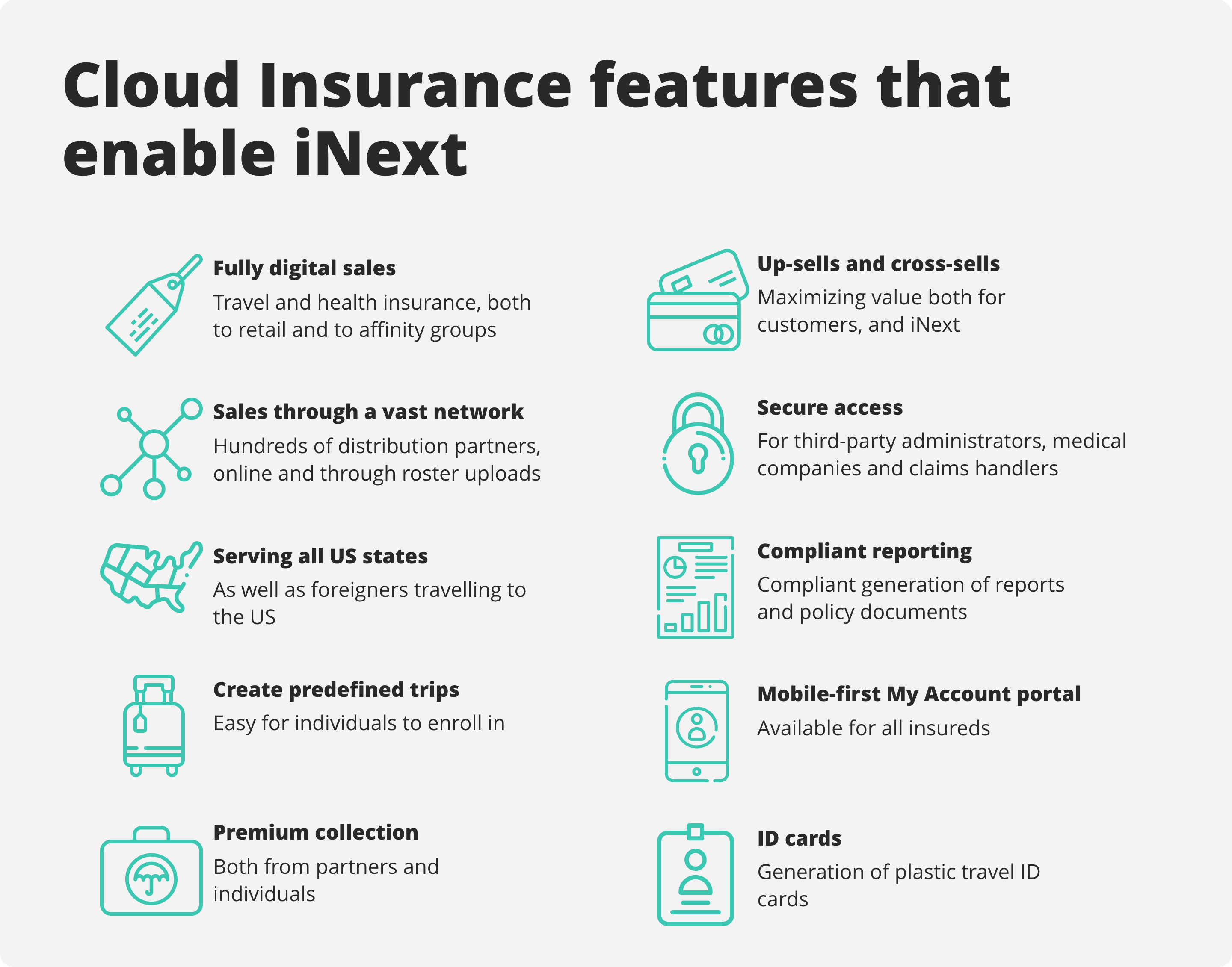 An excerpt of the Cloud Insurance features that iNext use.