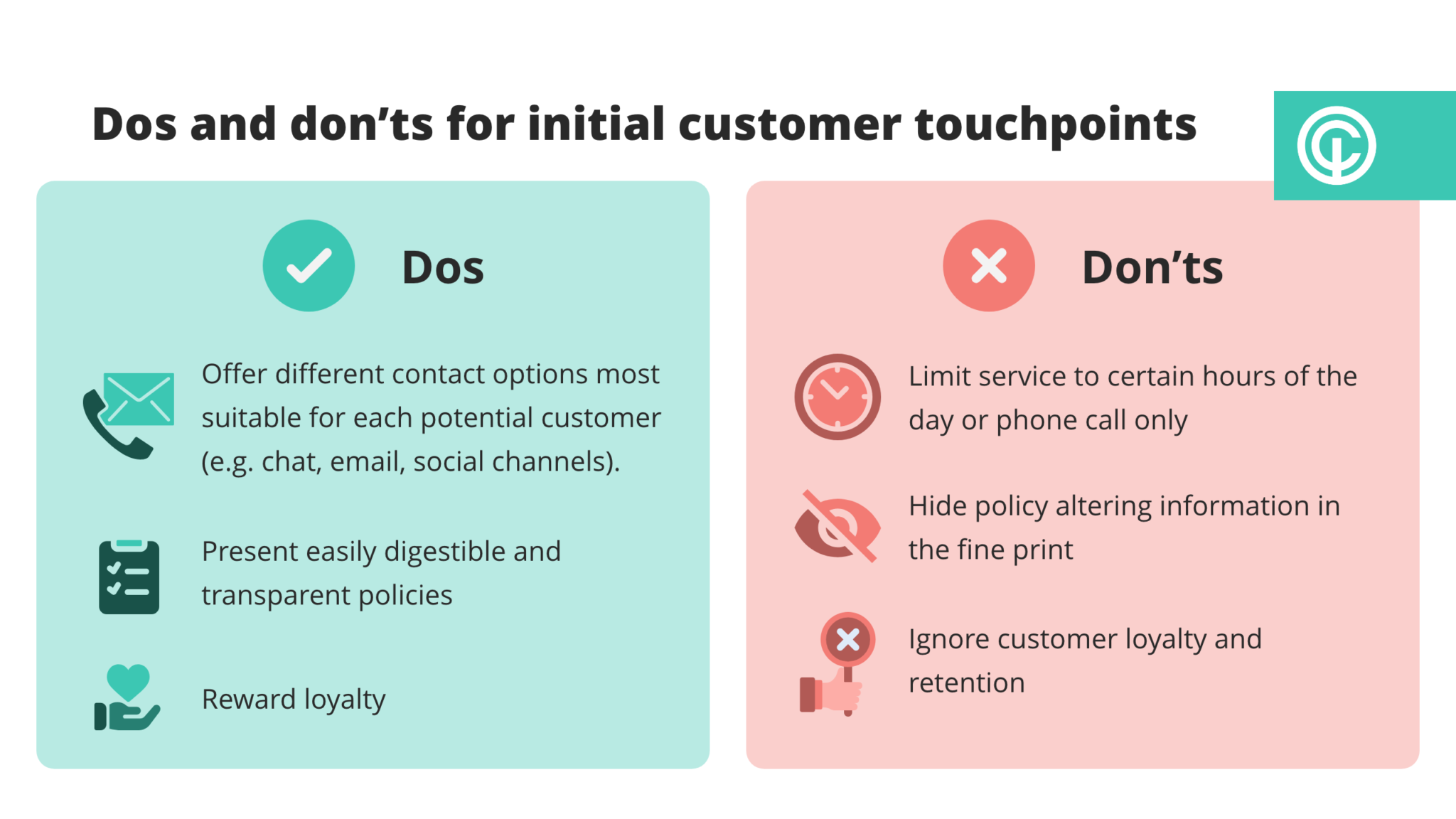 Dos and don'ts for initial customer touchpoints