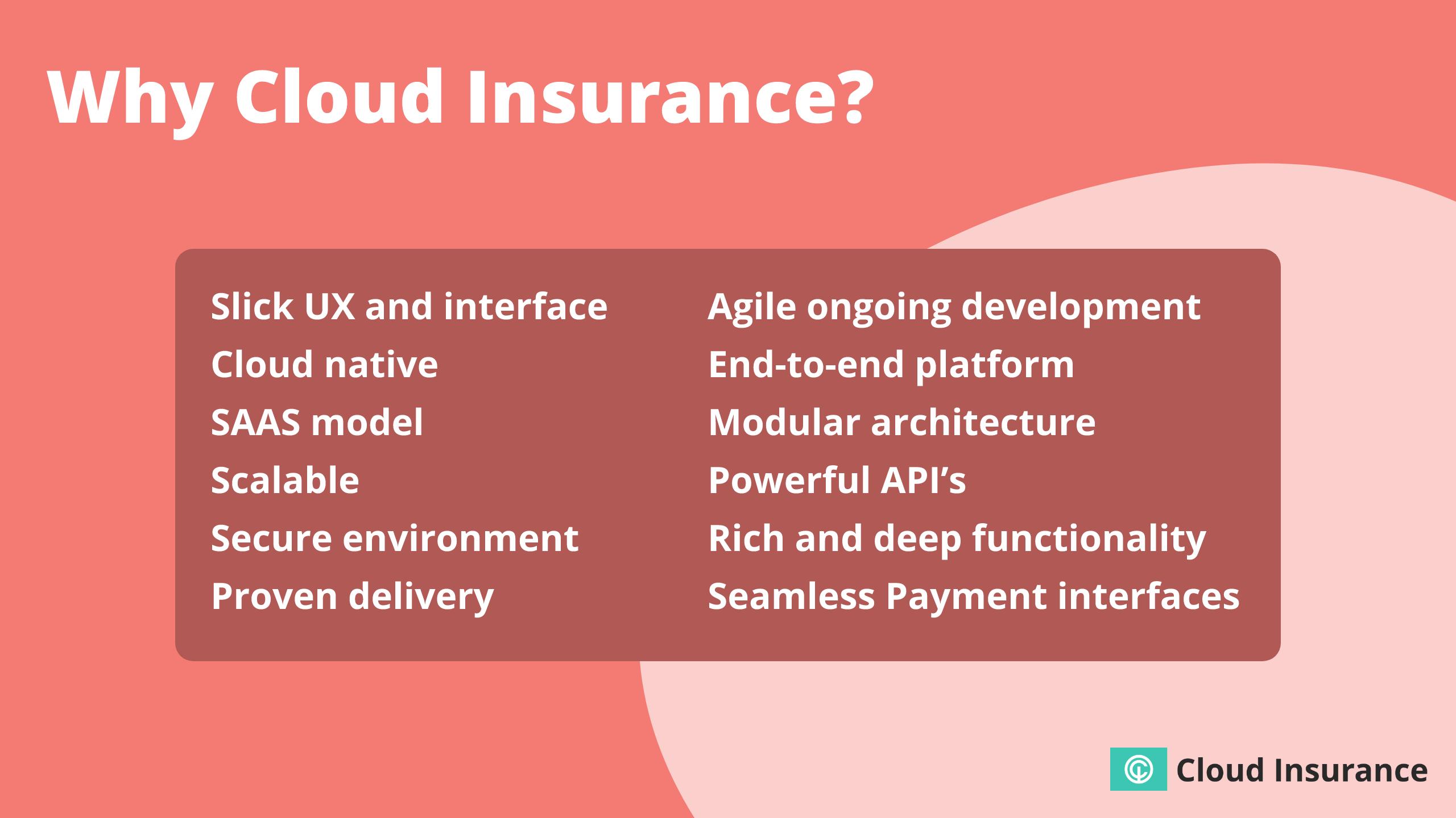 Advantages of the CloudInsurance platform.