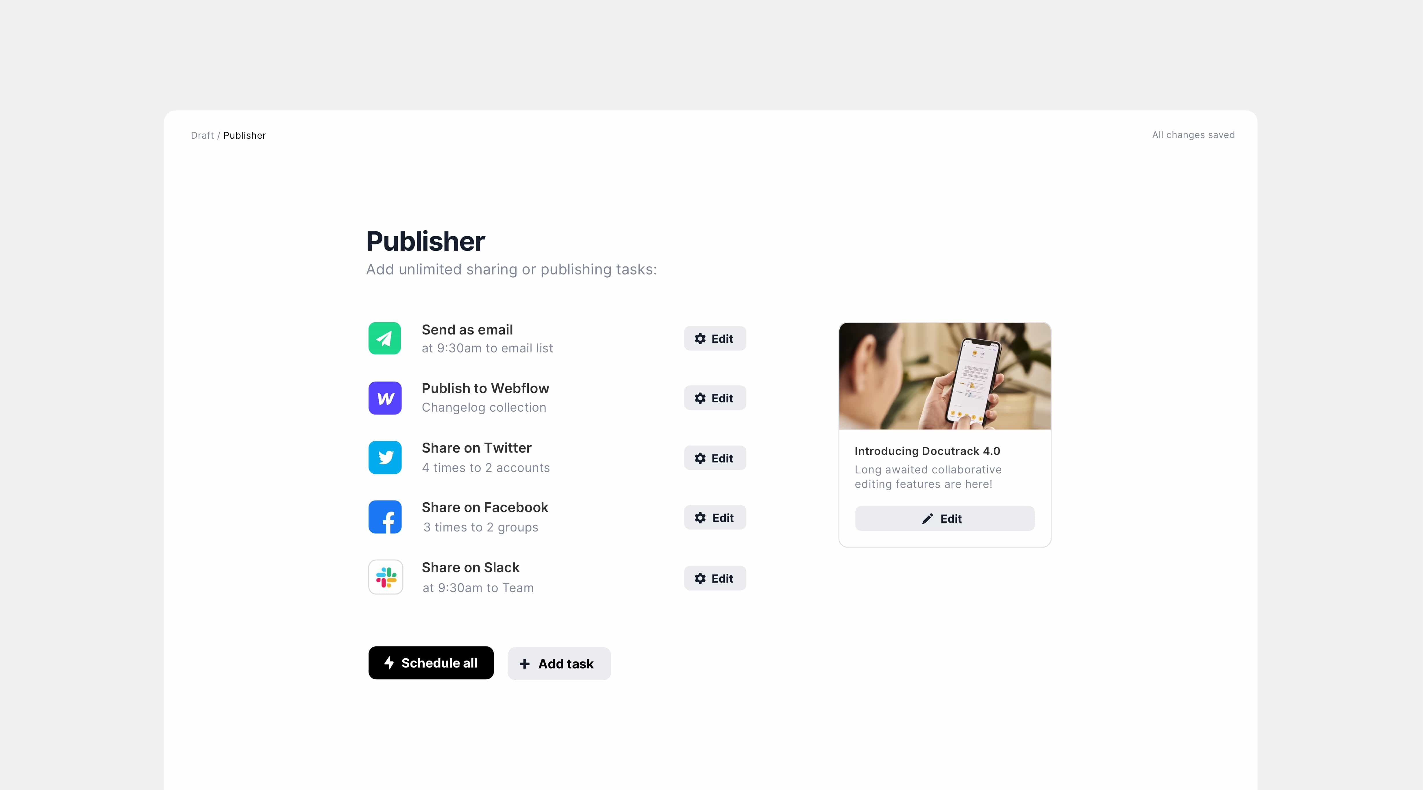 Multichannel publishing and social media scheduling