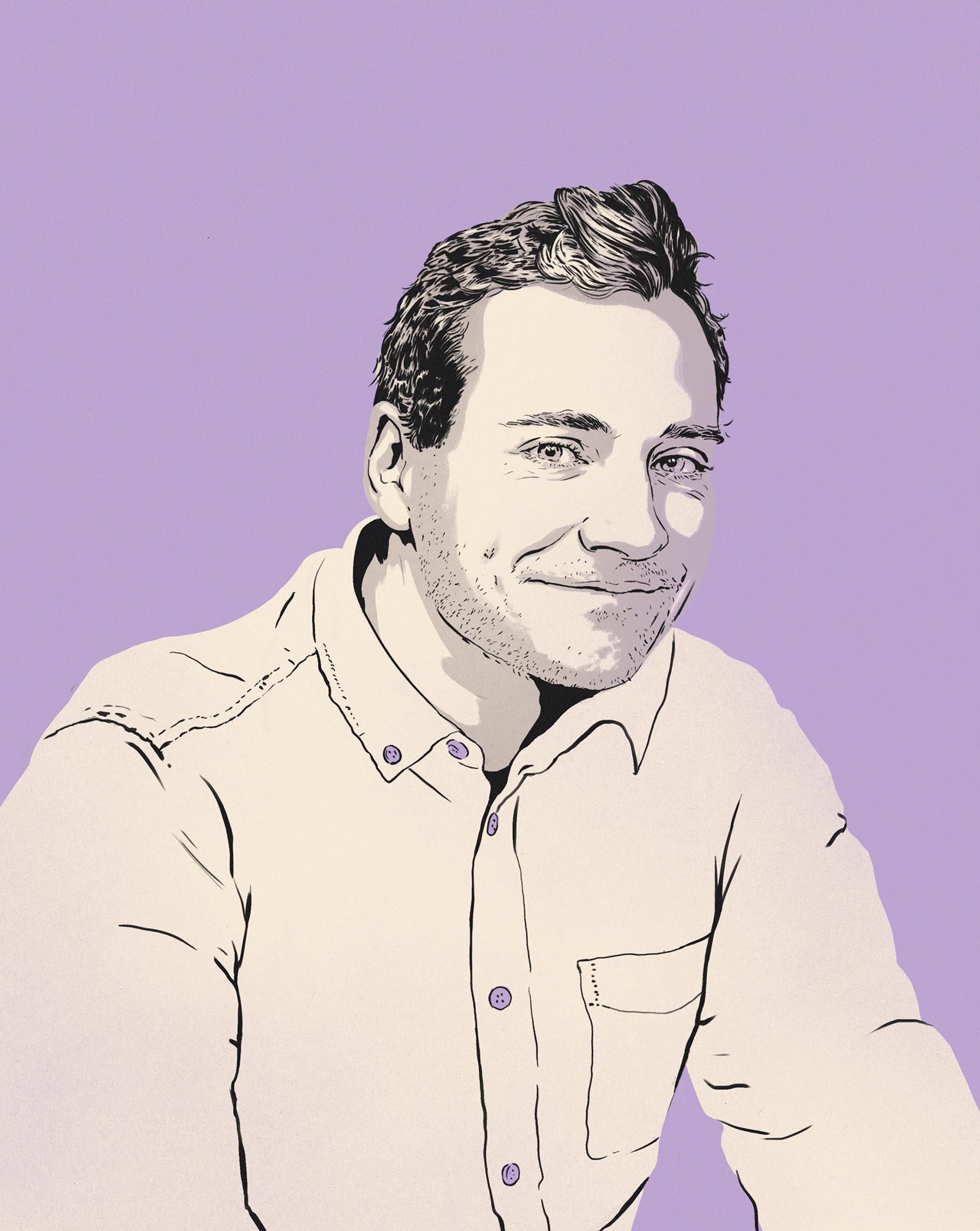 An illustrated portrait if Cameron Stark.