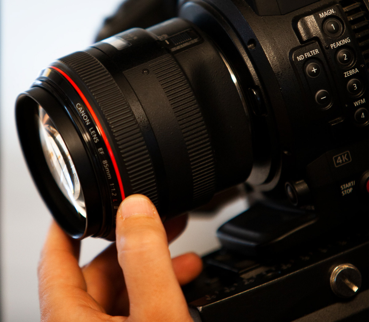 Focusing camera with 50 mm prime lens