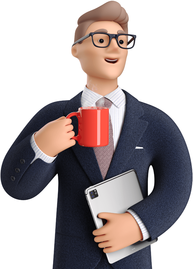 Businessman holding coffee and laptop
