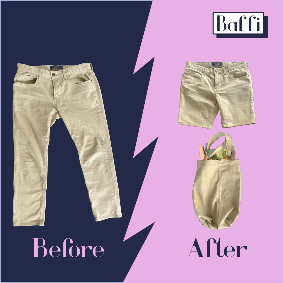 Old pants repurposed into shorts and a shopping bag.
