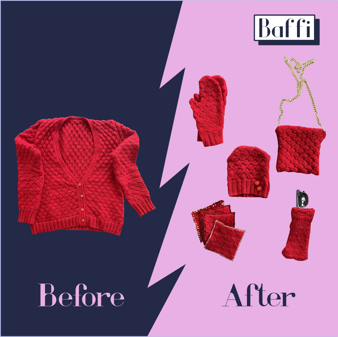 An old sweater upcycled into different products.