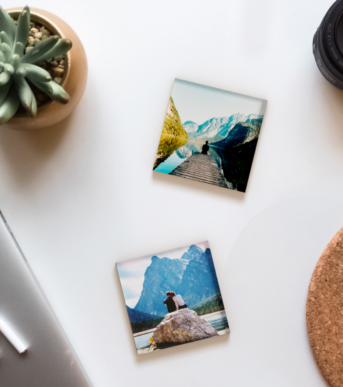 Canvas images on a table beside a cactus plant