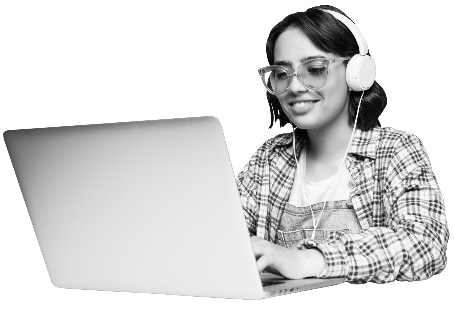 Someone using a computer with headphones