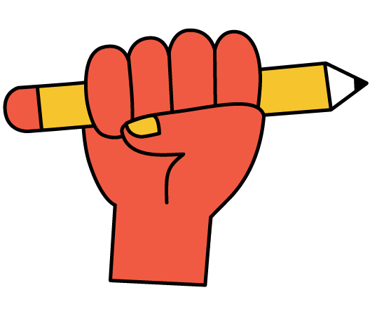 Creative Champs illustration of a red hand holding a yellow pencil.