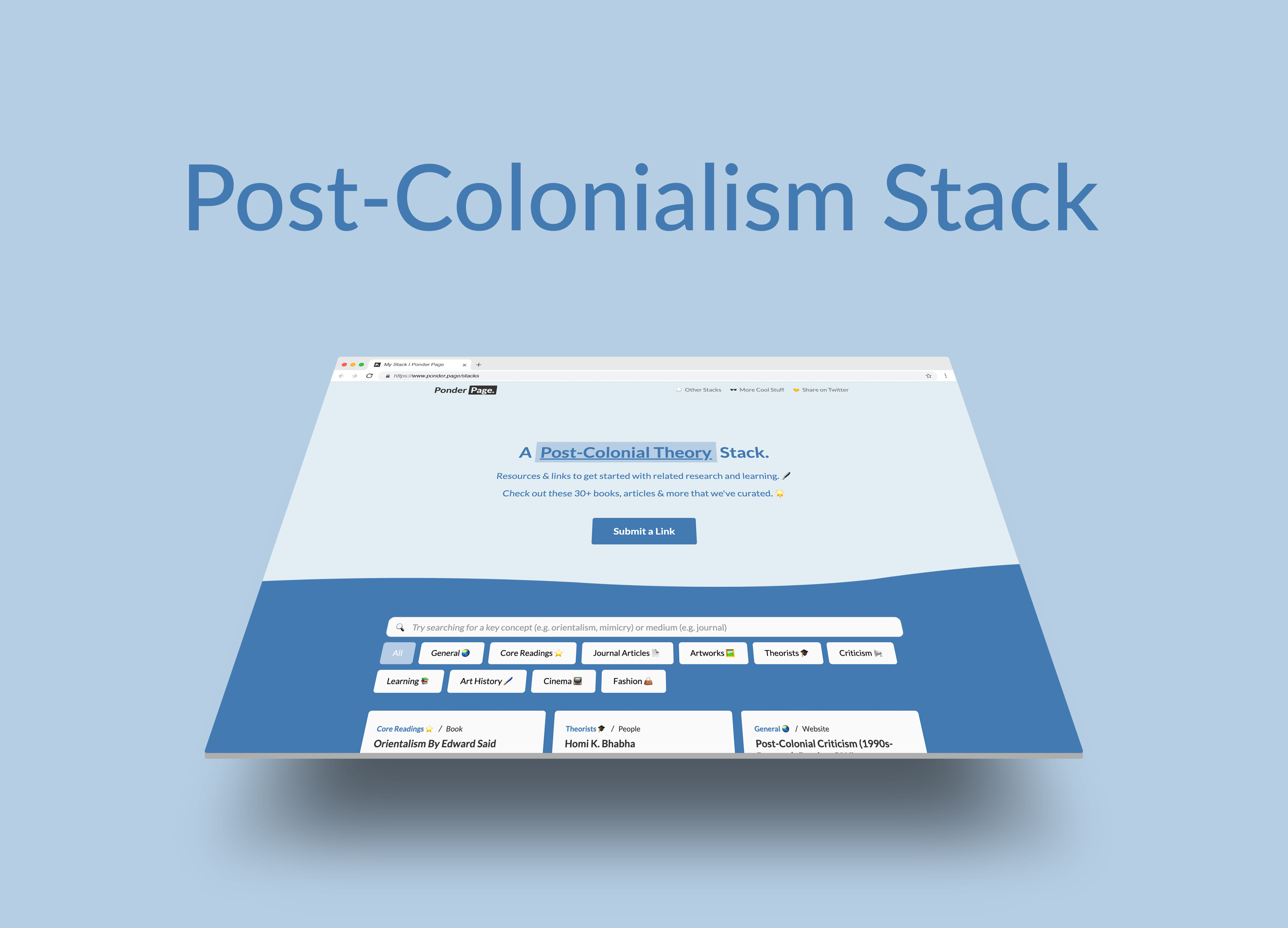Mockup and link to Post-Colonial Theory stacks.
