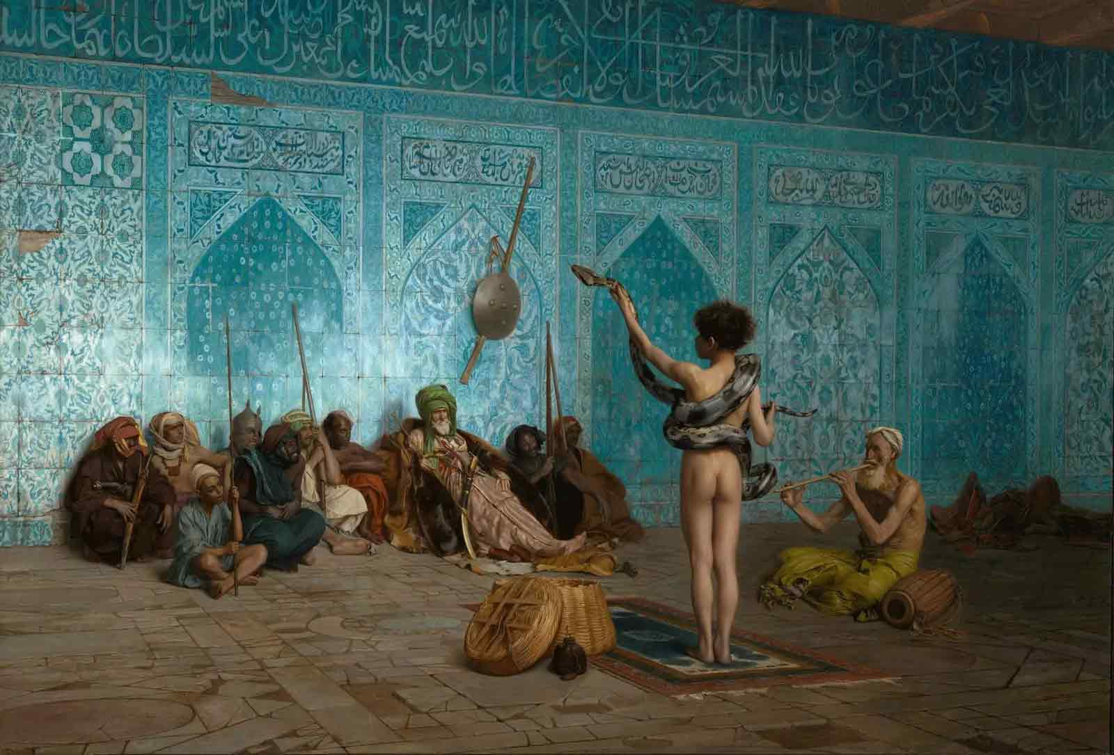 Oil painting of a snake charmer, done in an Orientalist style.