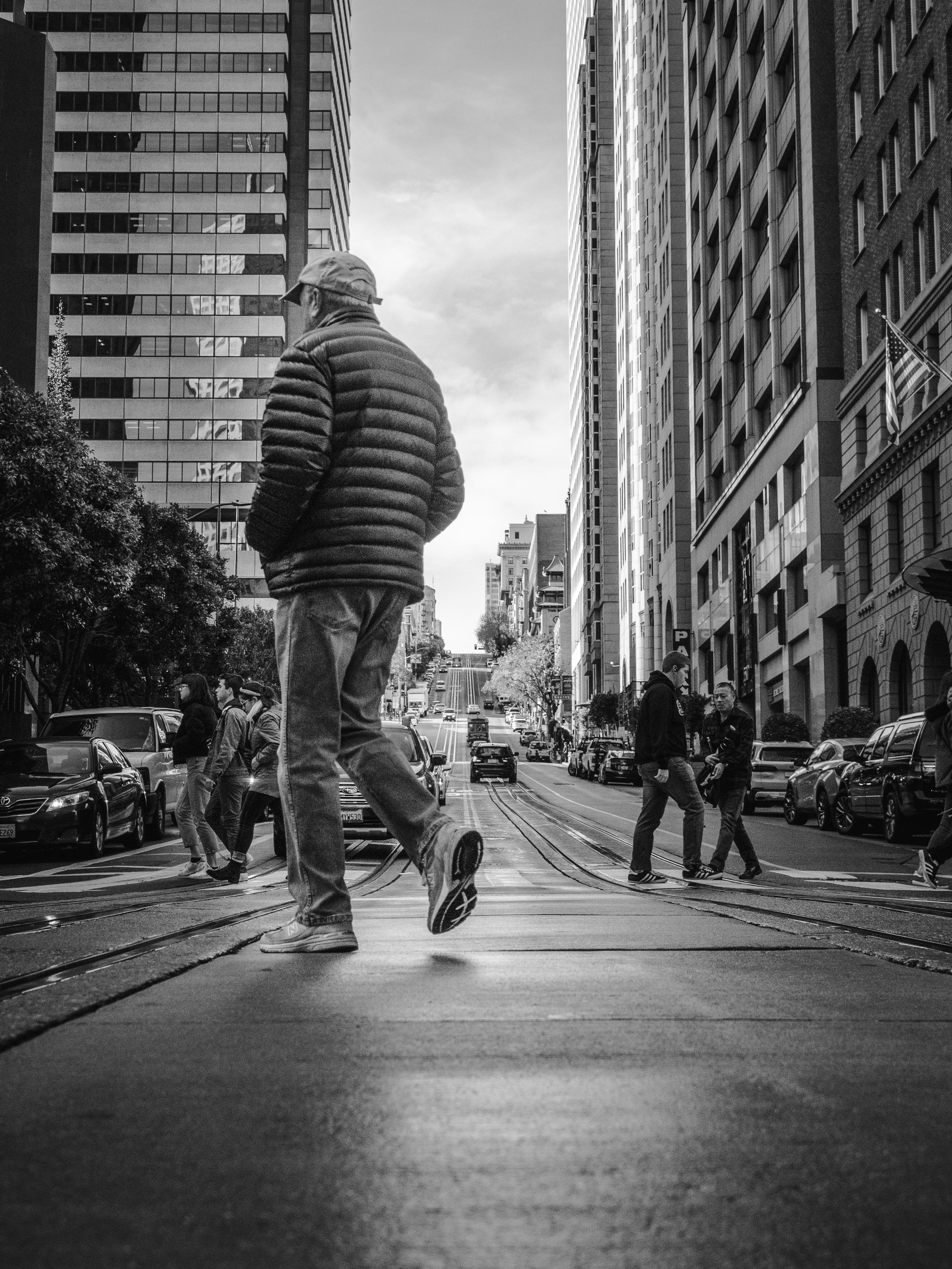 Man walking through city