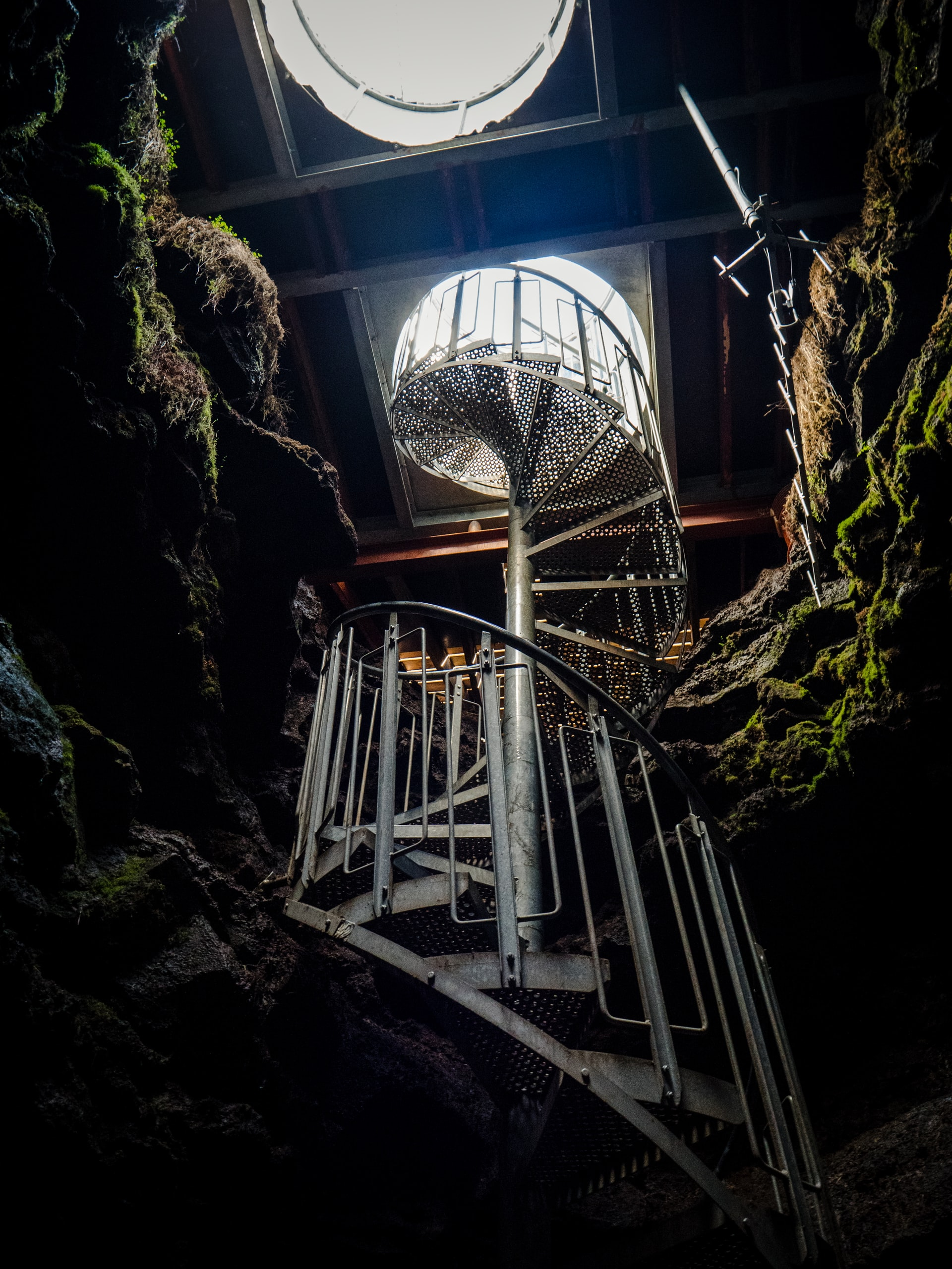 Staircases out of cave