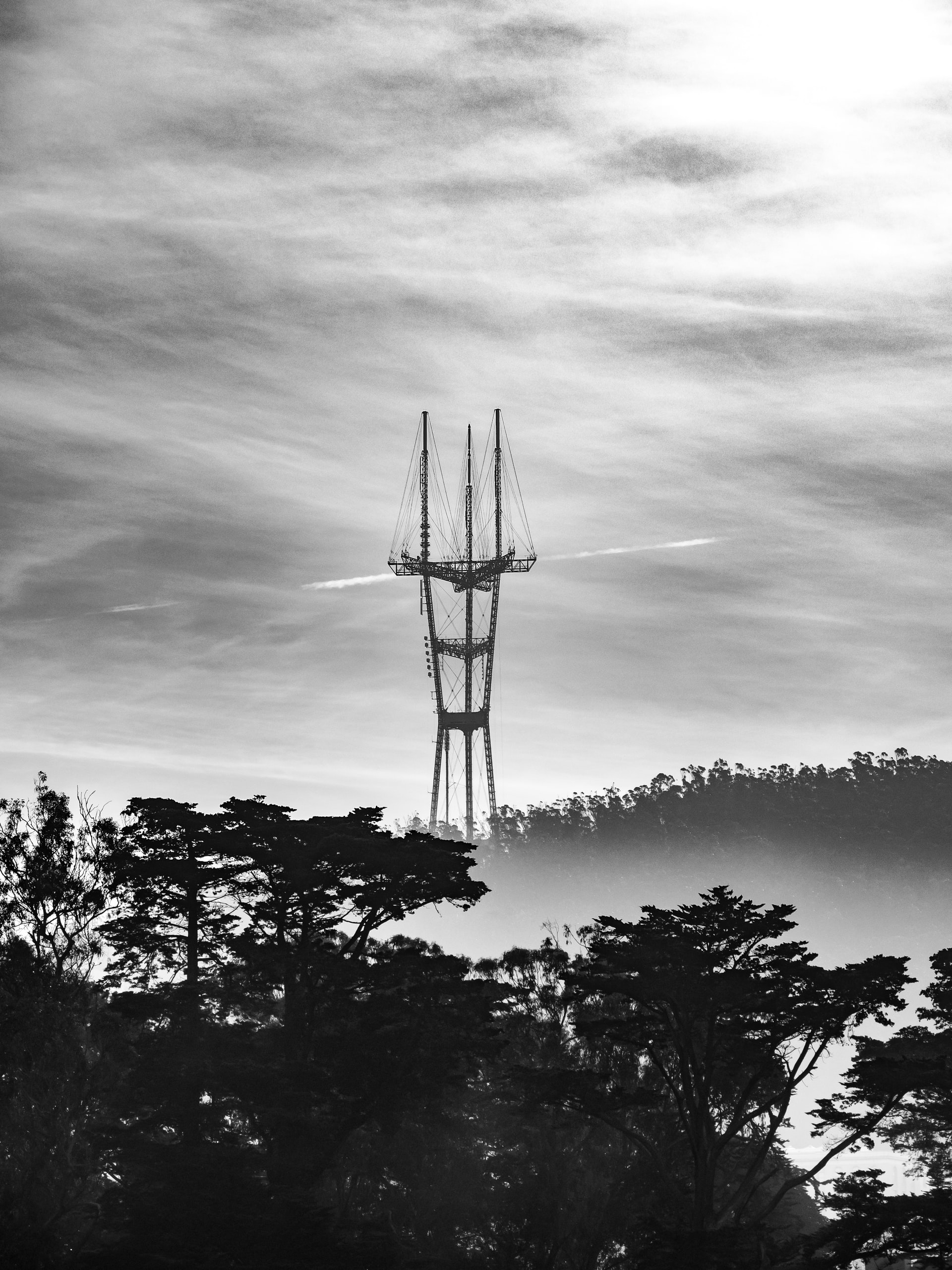 Sutro Towers in Black and White