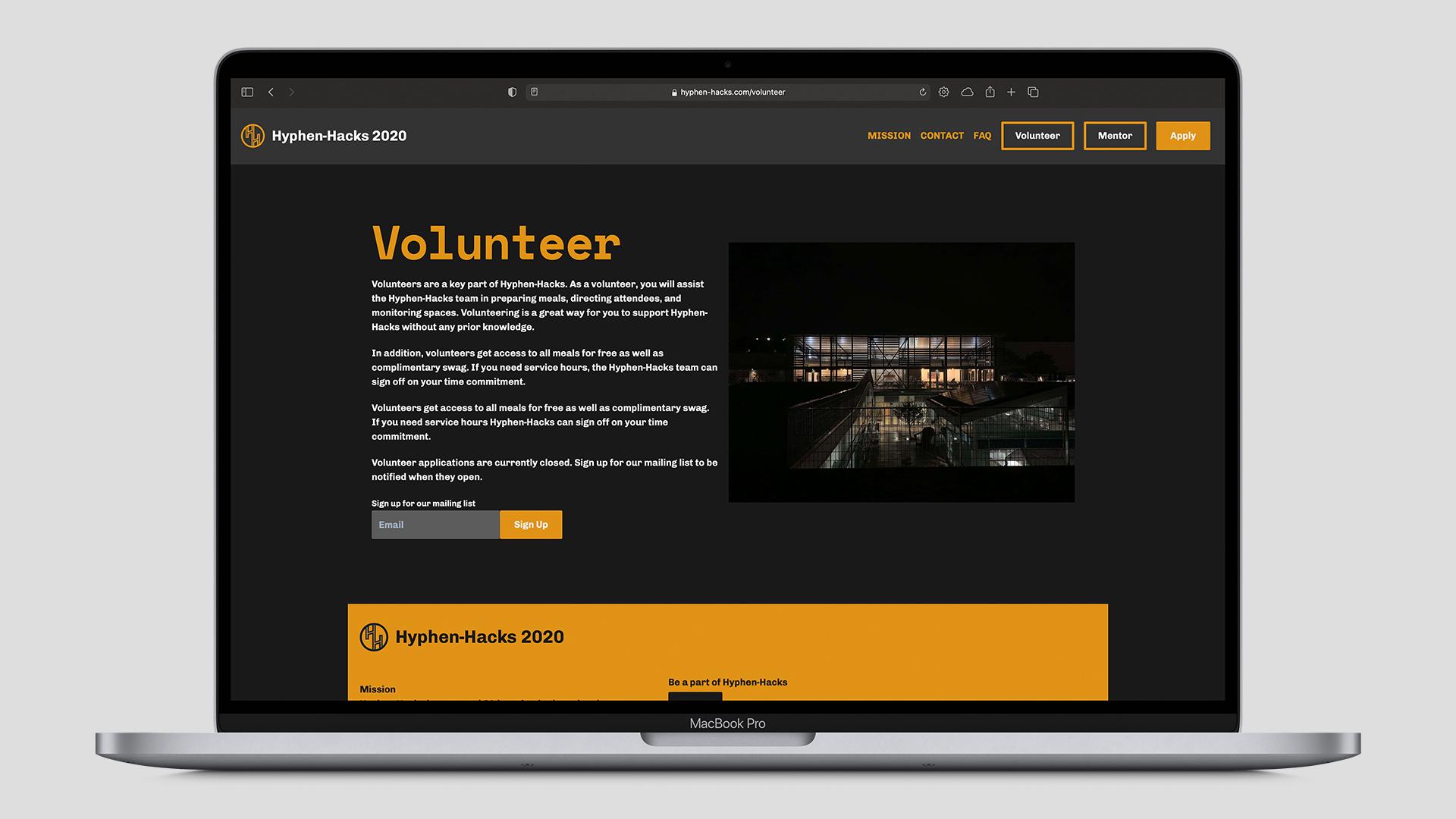 Hyphen-Hacks Volunteer page