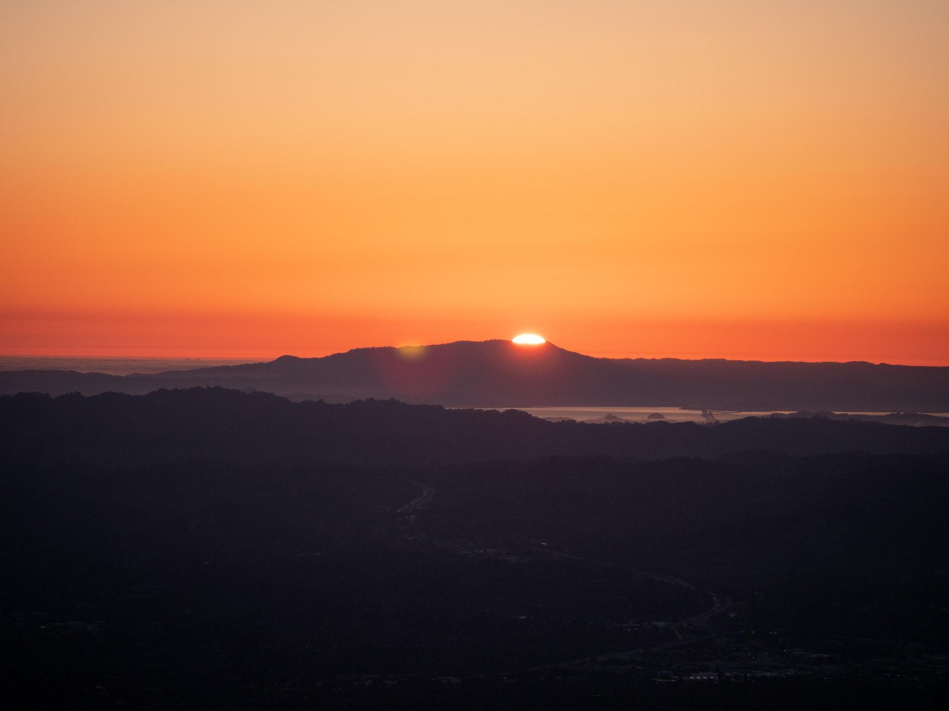 Sun set over mount Tam