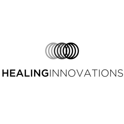 A black logo for Healing Innovations