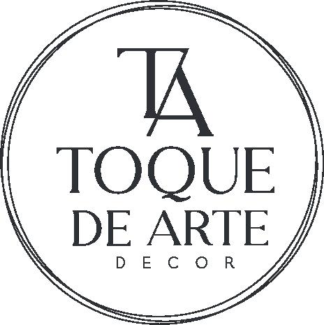 Logo da empresa Toque de Arte Decor com texto em preto.