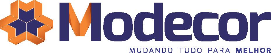 Logo da empresa Modecor com texto do nome em azul e laranja.