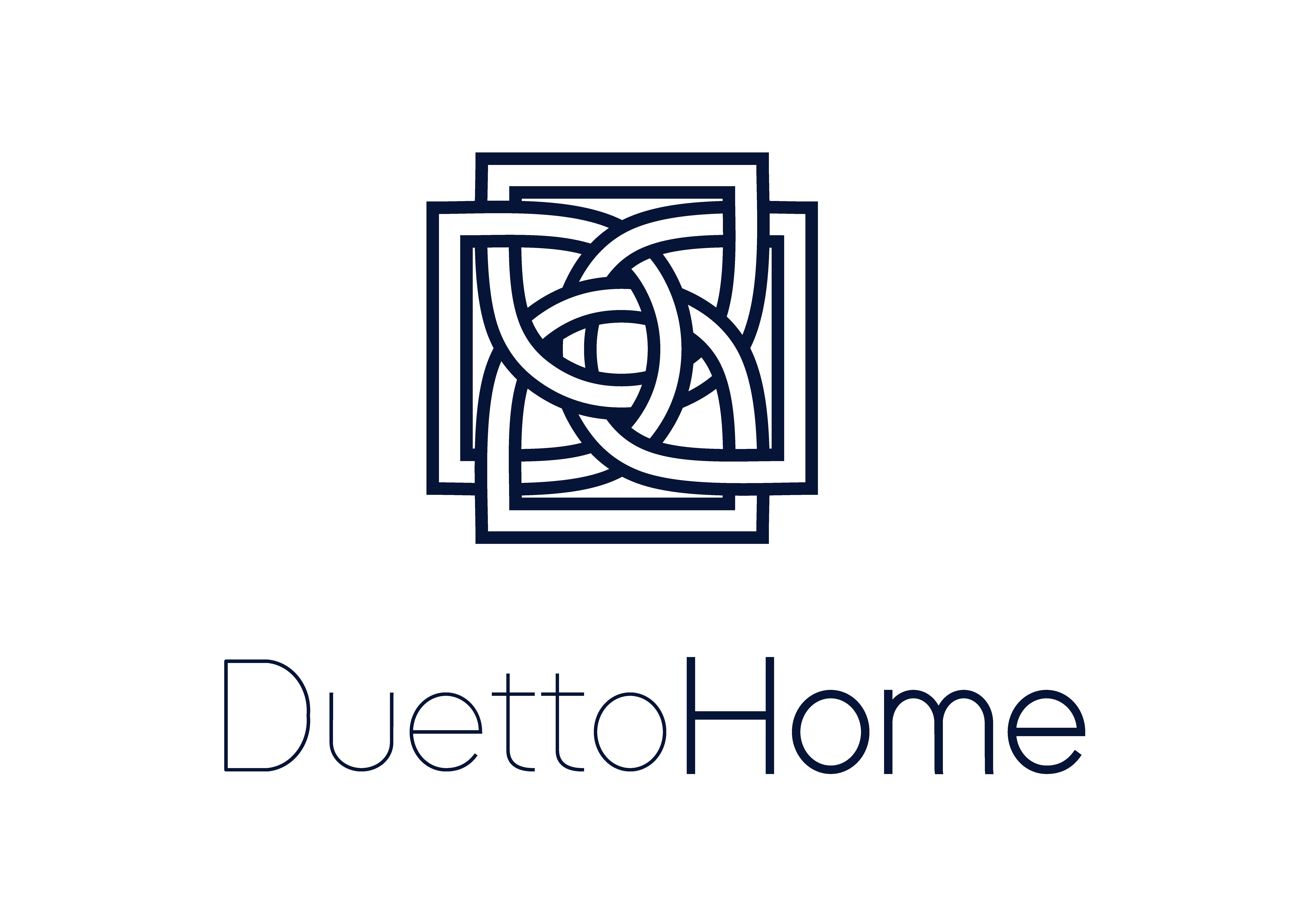 Logo da empresa Duetto Home com símbolo e texto na cor azul escuro.