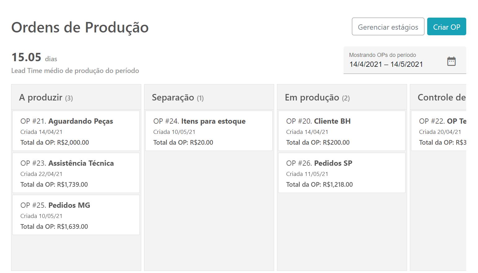 Tela do Sensio ERP de Ordens de Produção ao estilo kanban.
