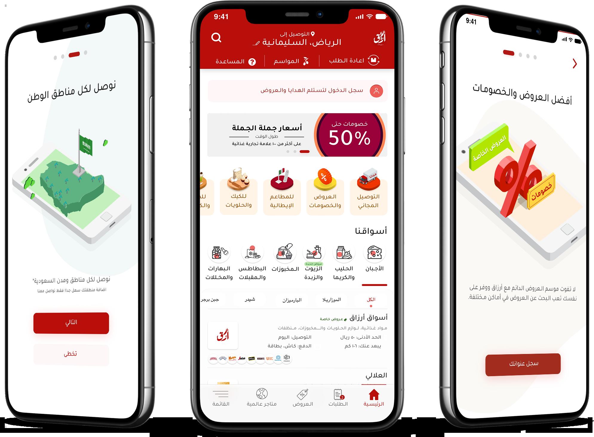 التصميم الخاص بتطبيق ارزاق لمساعدة المشاريع الغذائية الناشئة