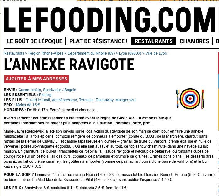 Le Fooding ANNEXE RAVIGOTE