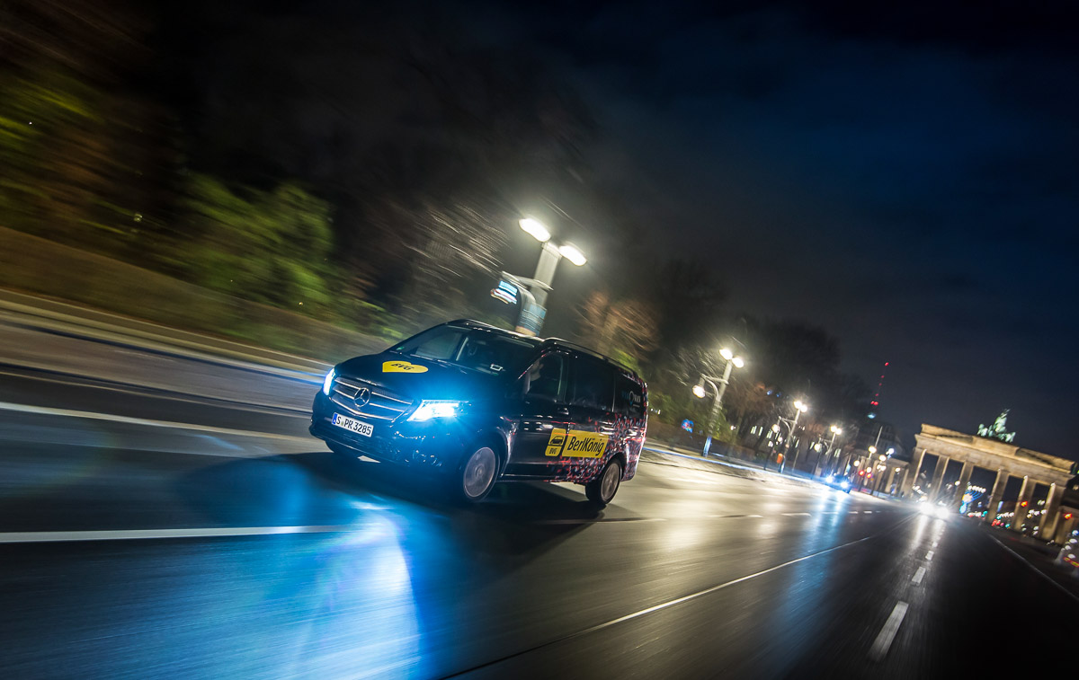 Berlkönig is a ridesharing service from local Berliner Verkehrsbetriebe together with Viavan in the German capital. The electric vans are very popular at night helping party crowds drive back to their homes.