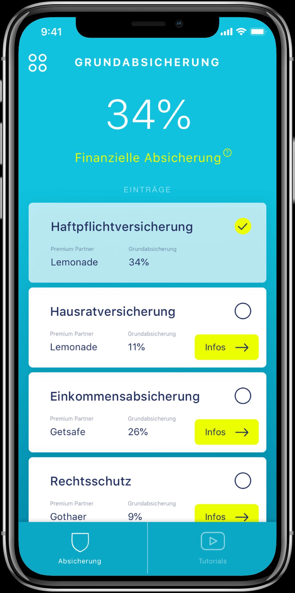 Handyscreen mit amplitude App Preview mit Finanzielle Grundabsicherung