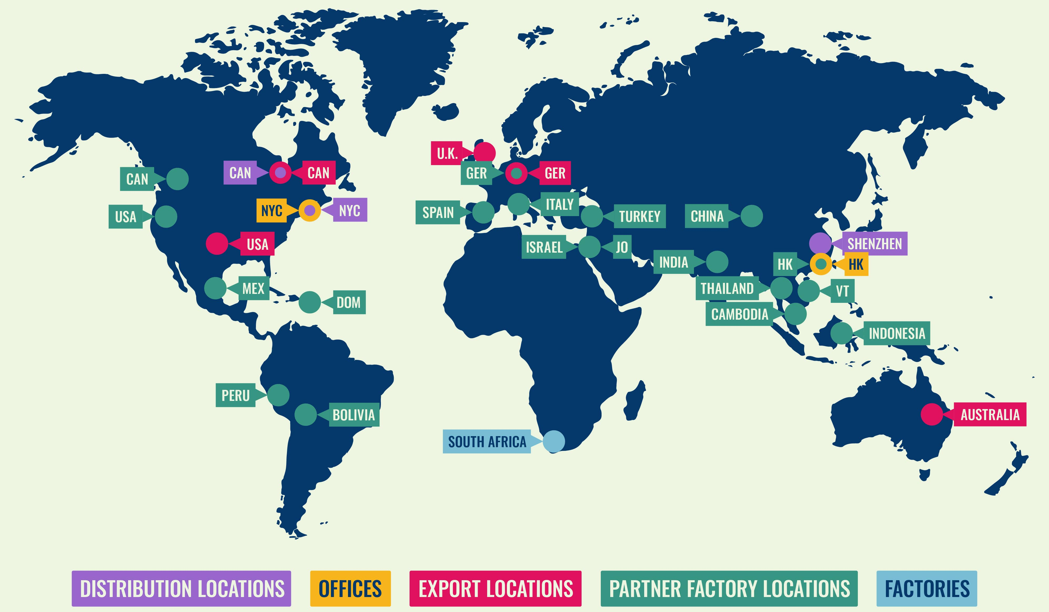 World map showing Fuzion Creations business locations.