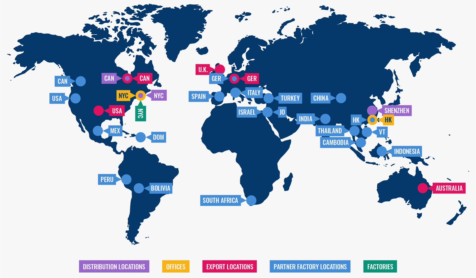 A world map showcasing Fuzion Creation's business locations.