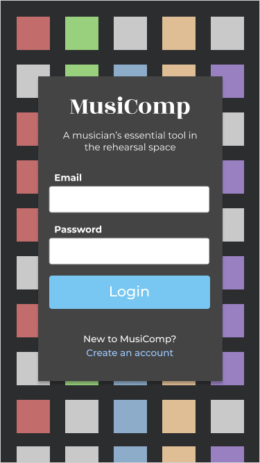 musiComp sign in page concept