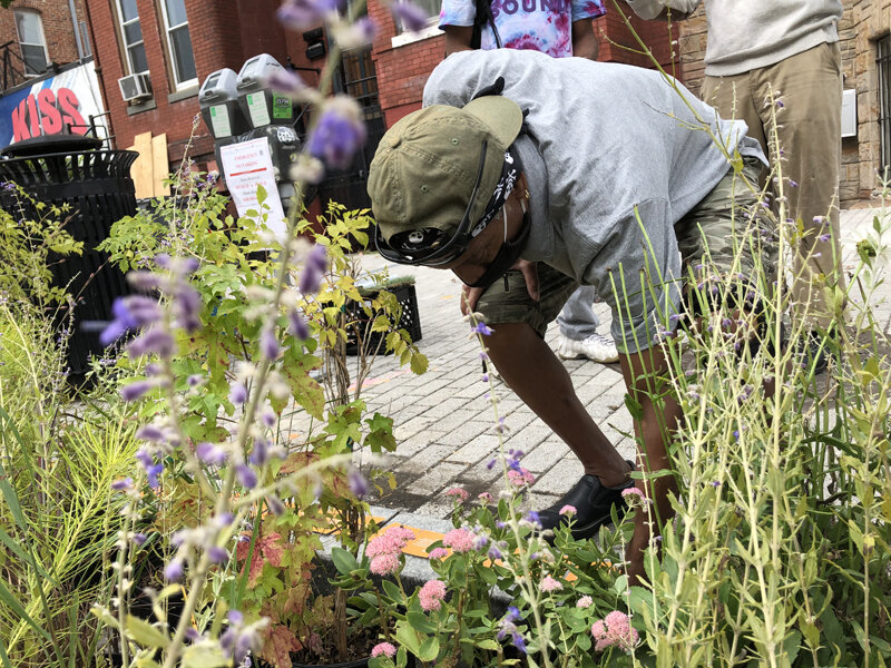Man picking up flowers from DiasFlora installation.