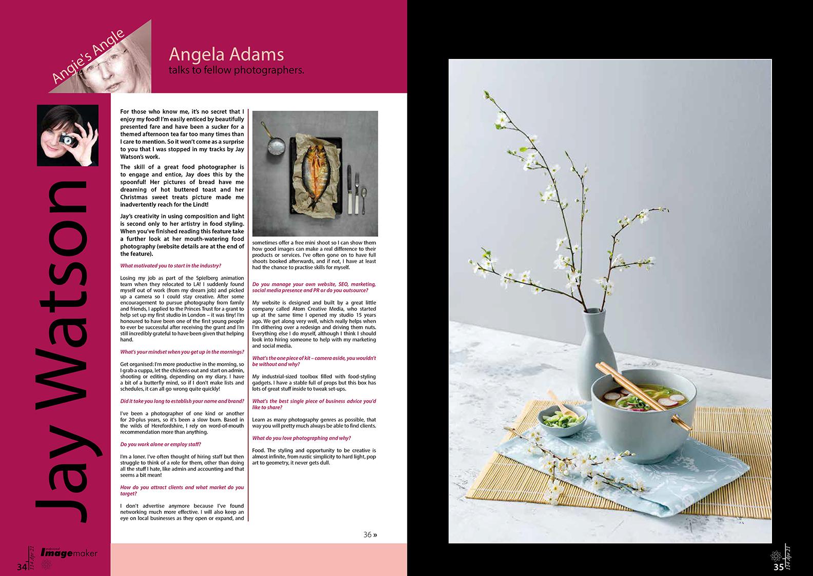 norfolk writer and photographer - tear sheets and copy - angela adams - jay watson food photography