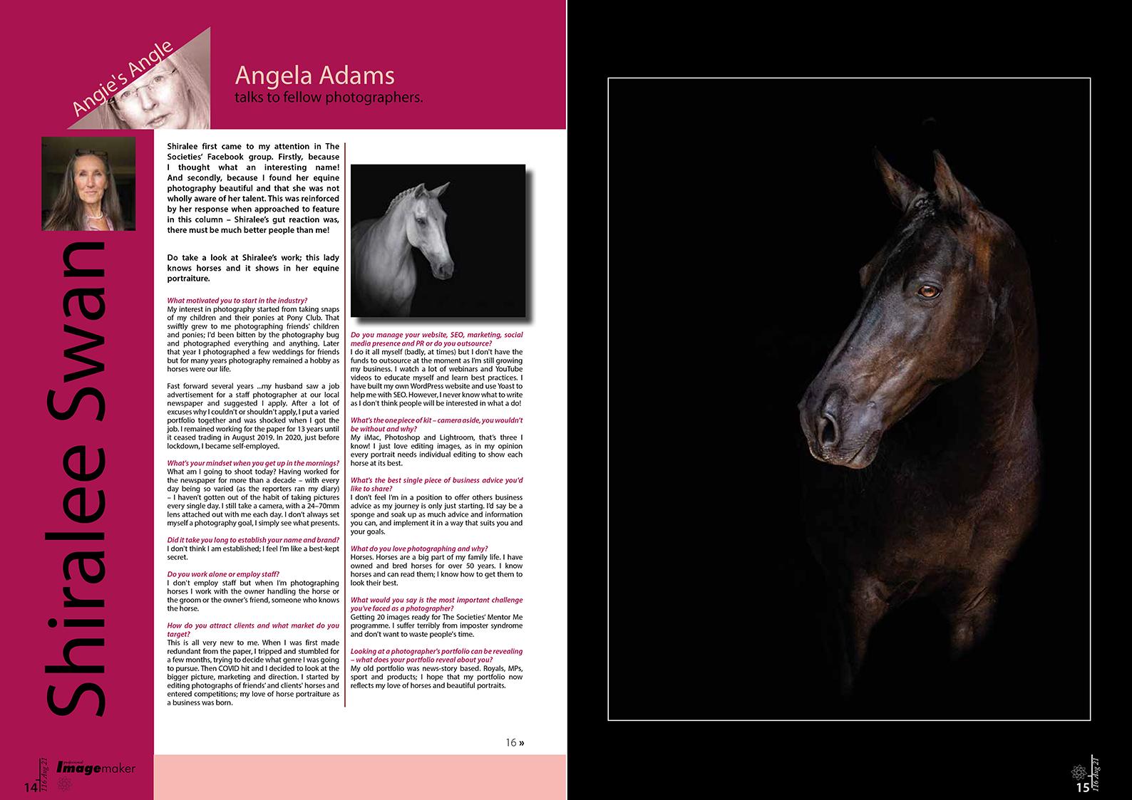 Norfolk photographer and freelance writer - angela adams - societies professional imagemaker magazine