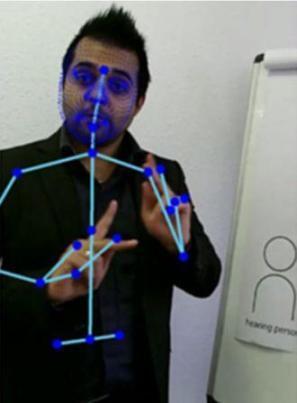 ||||||||||||SignAll logo; text Meet Dawn, our new native ASL teacher on board|Logo Tech Crunch|