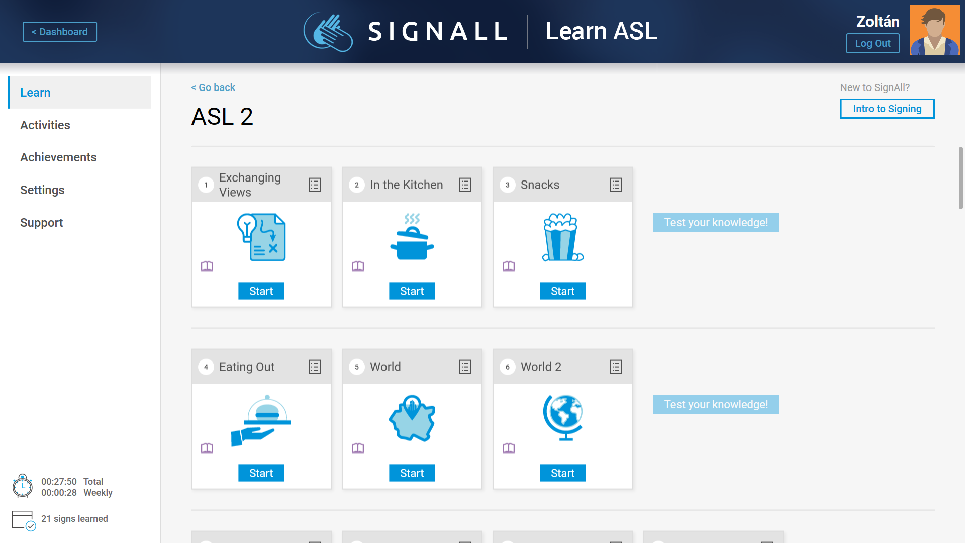 Page view of ASL II level of SignAll Learn Lab