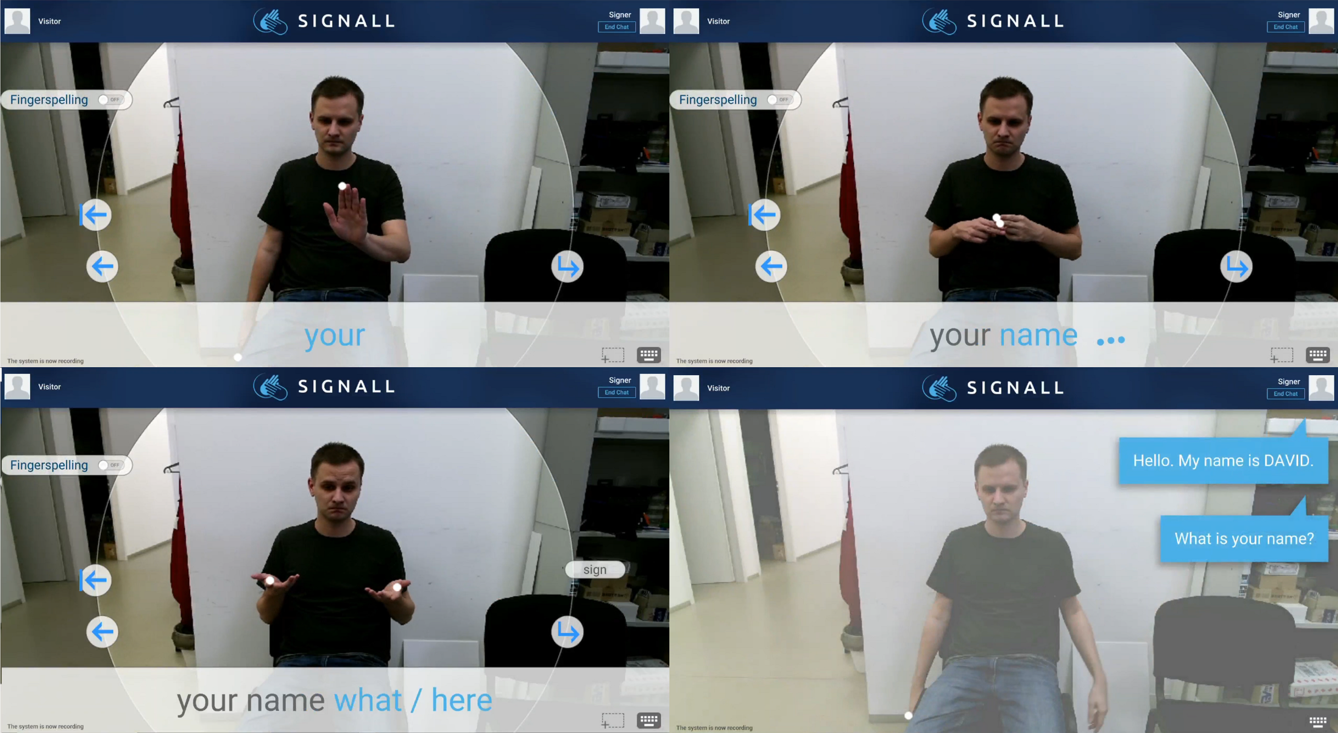 Last stages of testing: gloveless version of SignAll Chat