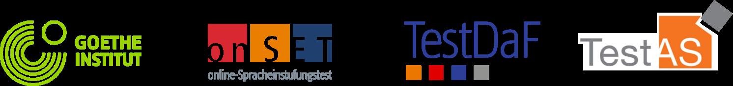 Logos do Goethe Institut, do teste OnSet, do TestDaf e do TestAS