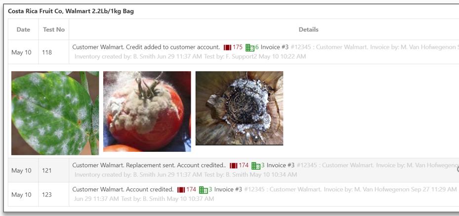 Customer quality feedback - Food quality