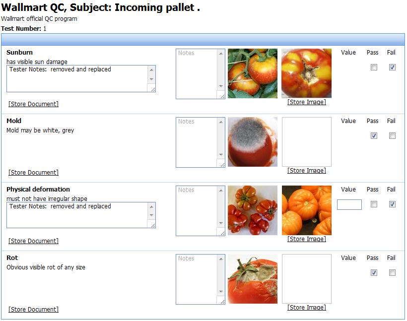 Food quality control app for food processors, food manufacturers, food service industries.