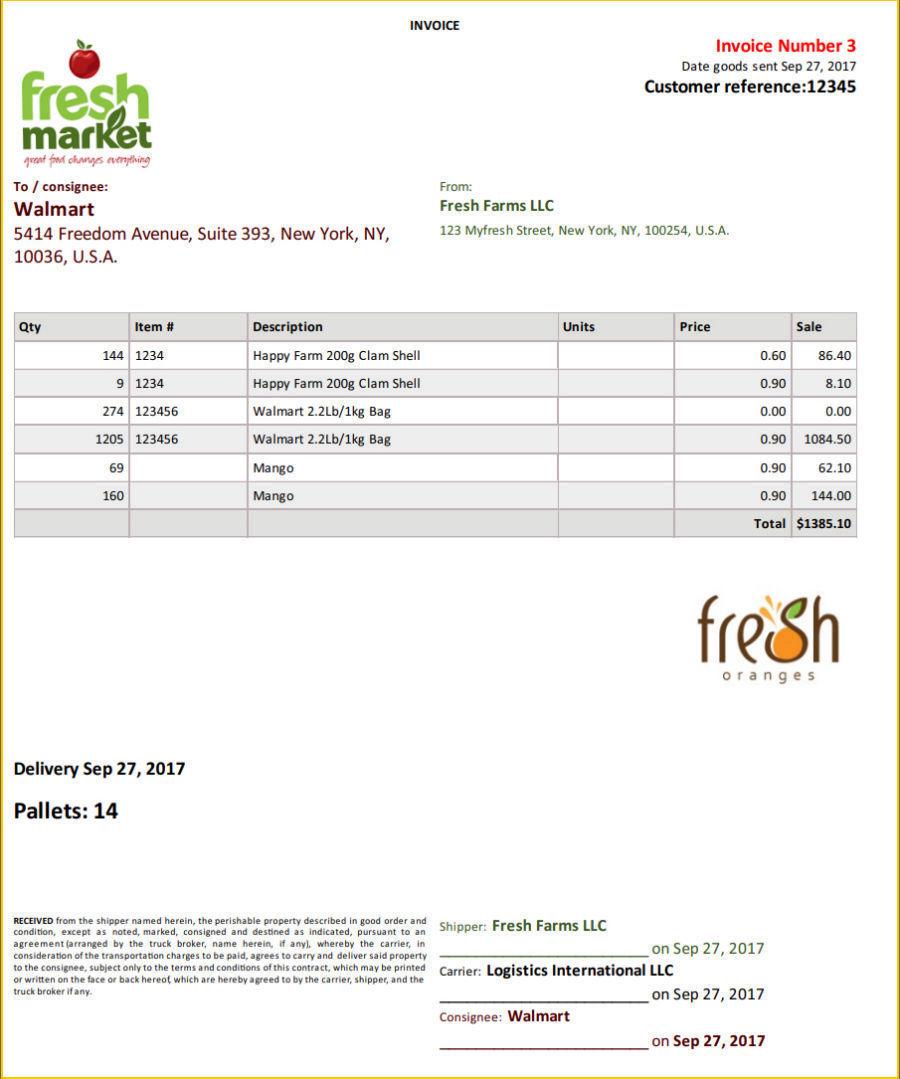 sales fresh produce wholesale xero