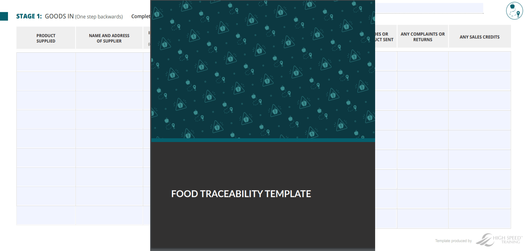 food traceability template preview
