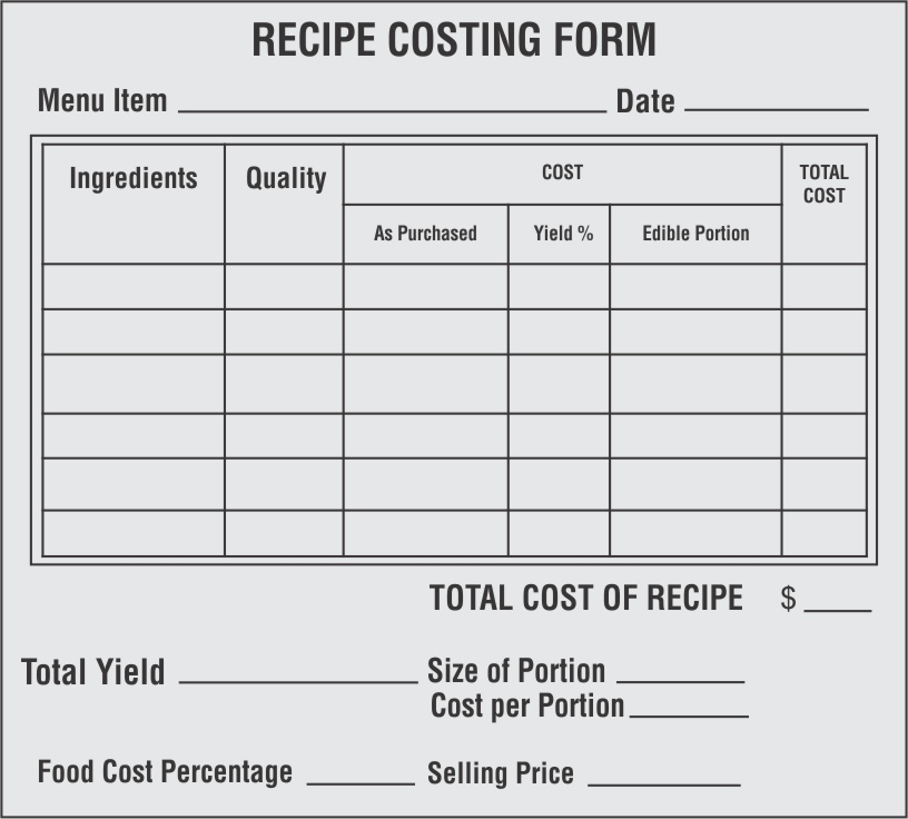 In order to have a detailed account of all each item, its quantity and its cost that go into preparing a dish, you can use recipe costng form, which is a type of restaurant inventory spreadsheet.