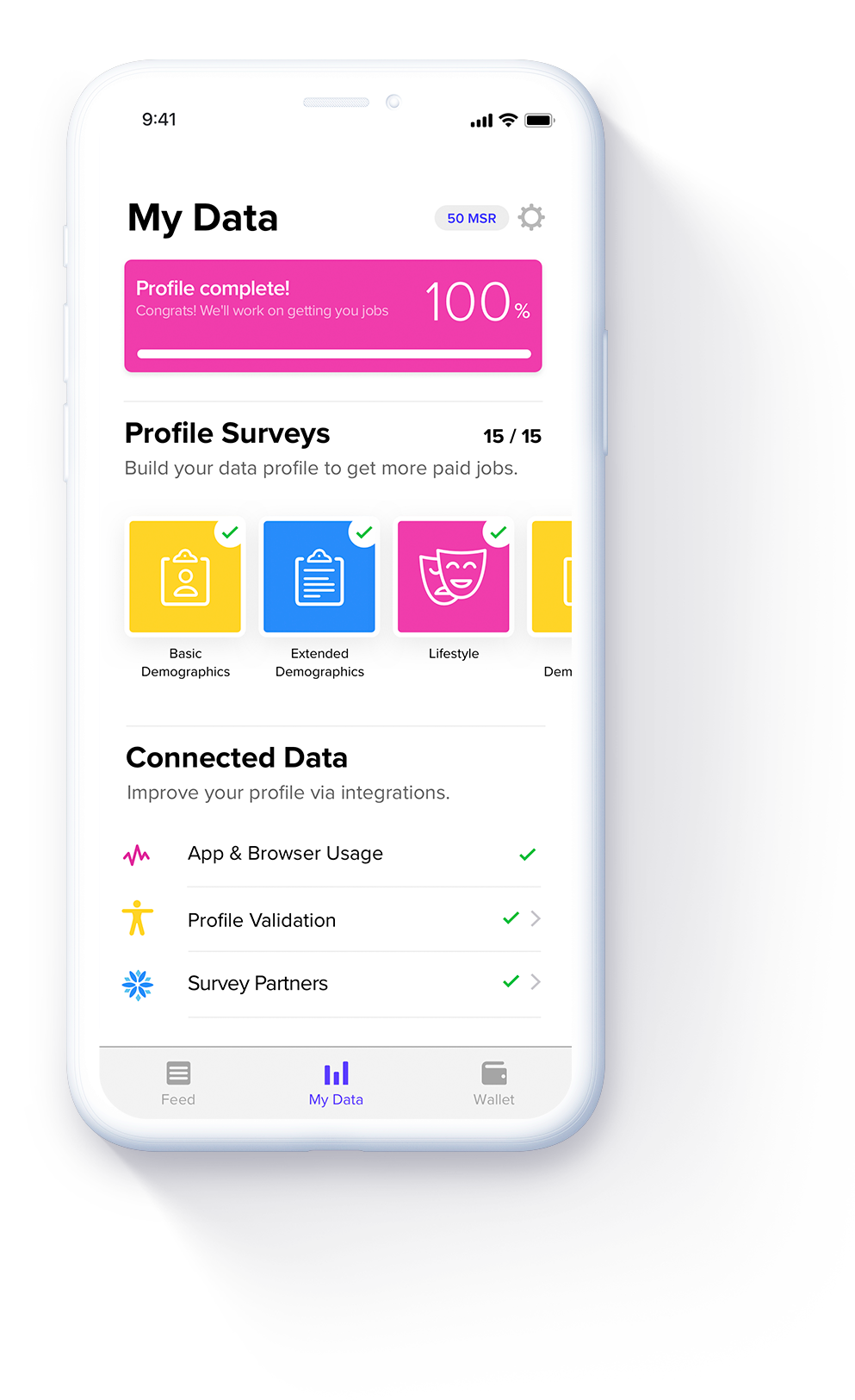 MSR App - My Data page for app users